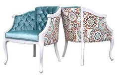 French Barrel Accent Chair White Refinished Aqua by OrangeNolive