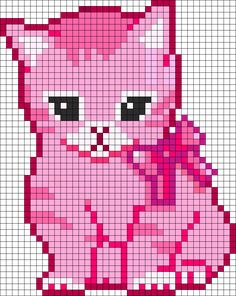 Pink Kitten perler bead pattern