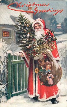 Old Fashion Christmas Tree, Vintage Christmas Images, Old Fashioned Christmas, Antique Christmas, Christmas Past, Primitive Christmas, Father Christmas, Christmas Greetings, Christmas Crafts