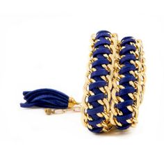 Cobalt Leather And Chain Double Wrap Bracelet With A Tassel