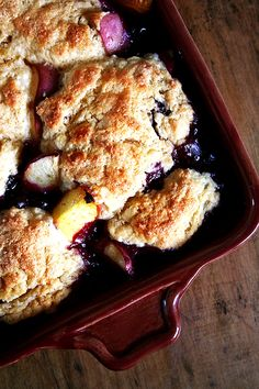 Peach-Blueberry Cobbler-  This sounds like a great recipe to try after blueberry and peach picking!