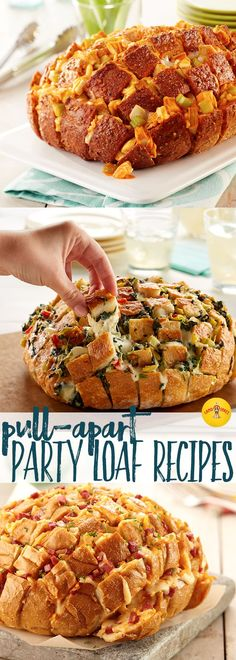 Eight easy and cheesy Pull-Apart Party Loaf recipe ideas for your next game day party.