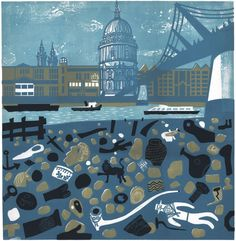 View of St Paul's from the Thames Foreshore - a linocut print by Melvyn Evans Linocut Prints, Art Prints, Block Prints, Royal College Of Art, London Art, Art For Art Sake, Colorful Paintings, Art Party, Wood Engraving