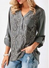 Roll Tab Sleeve Split Neck Blouse | Rosewe.com - USD $30.95