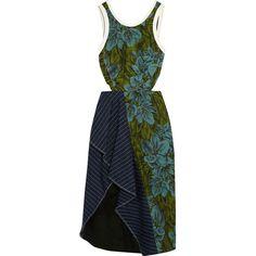 3.1 Phillip Lim Cutout pinstriped linen-paneled jacquard dress (1.620 BRL) ❤ liked on Polyvore featuring dresses, vestidos, 3.1 phillip lim, front slit dress, draped midi dress, 3.1 phillip lim dress, cut out dresses and mid calf dresses