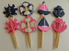 NAVY HOT PINK Nautical Cupcake Toppers Boat, Anchor, Helm, Life Preserver 12 count