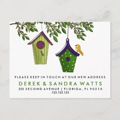 Bird boxes change of address we've moved announcement postcard Christmas Greeting Cards, Holiday Cards, Christmas Postcards, New House Announcement, Moving Announcements, Bird Boxes, Christmas Invitations, Change Of Address, Save The Date Cards
