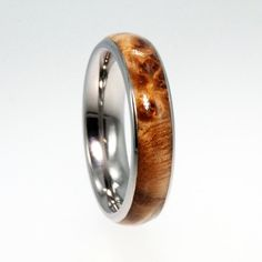 Titanium Ring Set with Black Ash Burl Wood Inlay by jewelrybyjohan, $438.00