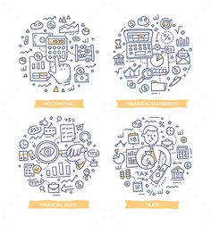 Doodle vector illustrations of financial and cashflow statements, sales report, accounting and audit. Finance and accounting conce Doodle Icon, Doodle Art, Color Vector, Vector Design, Graphic Design, Map Vector, Vector Free, Sketch Notes, Accounting
