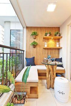 Wooden balcony furniture – Small balcony – Balcony ideas – Balcony design - All About Gardens Small Balcony Design, Small Balcony Garden, Balcony Ideas, Small Balconies, Narrow Balcony, Patio Ideas, Small Patio, Terrace Design, Balcony Bench