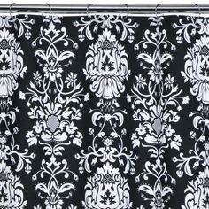Black And White Damask Shower Curtain black white and aqua damask - mia shower curtain new fleur de lis