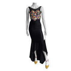 Patrick Kelly Paris 1986 Heart buttons gown with train size 4.   From a collection of rare vintage evening dresses at https://www.1stdibs.com/fashion/clothing/evening-dresses/