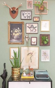 Gallery Wall · Creative Home Decor Inspiration · Wall Art · Eclectic Office · Vintage Inspiration Wand, Home Decor Inspiration, Hallway Inspiration, Decor Ideas, 31 Ideas, Decorating Ideas, Cool Items, Wall Collage, Collage Ideas