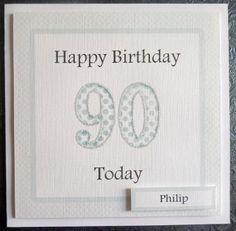 Personalised Male 90th Handmade Birthday Card - SC74 £2.75