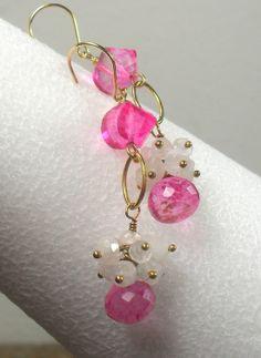 Pink Quartz Rainbow Moonstone Gold Filled Dangle