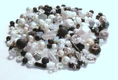 Mixed Lot of 4.1 Oz. of Beads in Black and White by BeadsFromHaven, $5.30