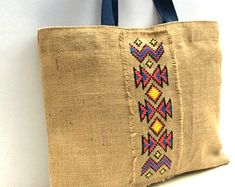 Tribal embroidered jute tote bag, completely handmade tote and cross-stitched with colorful pattern, one of a kind Cushion Embroidery, Hand Embroidery, Estilo Boho Chic, Jute Tote Bags, Ethnic Bag, Hand Applique, Polka Dot Fabric, Fabric Bags, Purses And Bags