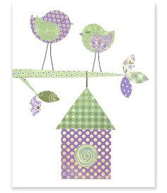 Printable Nursery Art Green and Purple Birds by SweetPeaNurseryArt, $6.00