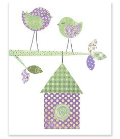 Printable Nursery Art Green and Purple Birds by SweetPeaNurseryArt, $6.00