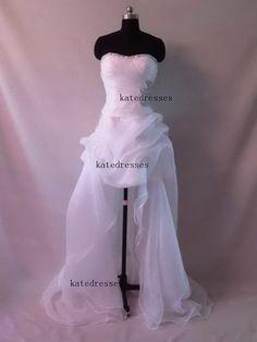 New Prom Dresses, Custom Strapless Long White High-low Prom Dresses Homecoming Dresses