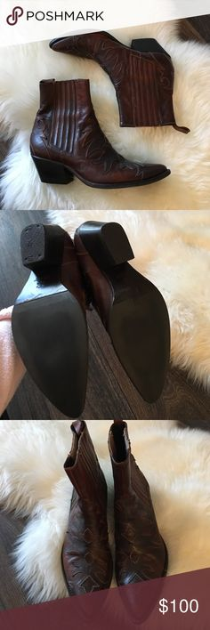 Vintage Western Style Booties Love these but they're about a half size too small. Labeled size 38 but fit closer to a 37. Just got them reheeled so they're in great condition! They are pull on they do not have a zipper. Vintage Shoes Ankle Boots & Booties