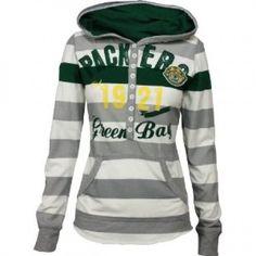 Green Bay Packers YAC Women's Striped Hooded Sweatshirt
