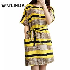 VESTLINDA 2017 Style Summer Sundress Woman Loose Big Yards Yellow Stripper Dress Home Short Sleeve New Casual Dresses with Belt-in Dresses from Women's Clothing & Accessories on Aliexpress.com | Alibaba Group