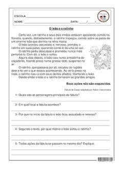 O leão e o ratinho - Interpretação 4º E 5º ANO, FÁBULAS DE ESOPO, INTERPRETAÇÃO, LÍNGUA PORTUGUESA
