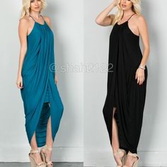 New Hi low drape maxi summer sun dress black teal ❌PLEASE DON'T BUY THIS LISTING, COMMENT ON SIZE and color NEEDED FOR SEPARATE LISTING. ❌.   New retails without tags. Hi low lo Drape ruched maxi  dress with layered shirt underneath. Racer back, spaghetti straps.ruched neckline and drape sides. Very comfy and super sexy. Fabric content 95% Rayon and 5% spandex ...Available in black and teal. Small medium and large. boutique Dresses Asymmetrical