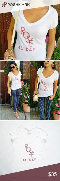 "Rose All Day    Vneck T-shirt "" ROSE ALL DAY ""  WHITE V NECK T SHIRT     SIZE : LARGE T&J Designs Tops Tees - Short Sleeve"