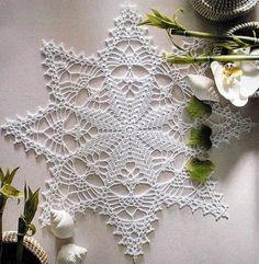 thread crochet and doilies Crochet Dollies, Crochet Stars, Crochet Snowflakes, Thread Crochet, Filet Crochet, Irish Crochet, Crochet Home, Crochet Crafts, Crochet Projects