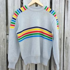 1b9737998 Vintage 1970s Gray Sweater Rainbow Stripes Multi Colored - Unisex Size M/L