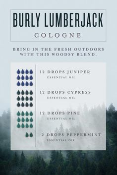 Men's Cologne Bring in the fresh outdoors with this woodsy essential oil blend by creating our Burly Lumberjack DIY cologne for men!Bring in the fresh outdoors with this woodsy essential oil blend by creating our Burly Lumberjack DIY cologne for men! Essential Oil For Men, Juniper Essential Oil, Oils For Men, Essential Oil Perfume, Doterra Essential Oils, Young Living Essential Oils, Perfume Oils, Man Perfume, Herbs