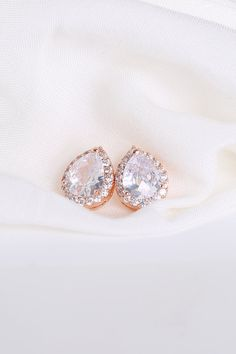Cubic Zirconia / Rose Gold Teardrop Stud Earrings by ForTheMaids