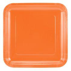 ORANGE PAPER PLATES (Set of 14) - Orange Square Paper Plates (23cm x ...