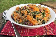 Once Upon a Cutting Board: Sweet Potato, Kale, and Cranberry Quinoa Salad