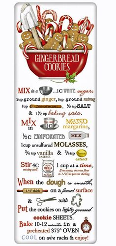 Gingerbread Cookies Recipe 100% Cotton Flour Sack Dish Towel Tea Towel