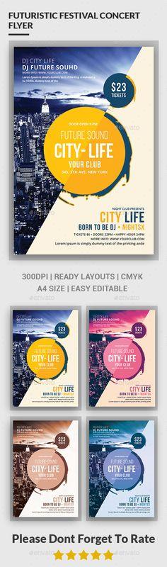 Futuristic Festival Concert Flyer Template #design Download: http://graphicriver.net/item/futuristic-festival-concert-flyer/12460941?ref=ksioks
