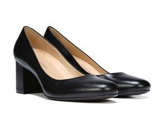 The Whitney pumps from Naturalizer are a timeless, yet of-the-moment addition to any wardrobe.New premium N5 Contour technology, featuring a patented contoured footbed with superior arch and heel support, dual-density cushioning, a cool and breathable lining, lightweight materials, and flexibility that moves with youLeather or suede upper in a basic dress style with a round toeSlip-on fitSleek silhouetteNon-slip outsole for stability, 2 1/2 inch block heel