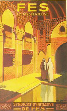 VINTAGE ART DECO TRAVEL ADVERT POSTER FES MAROC france travel africa arab | eBay