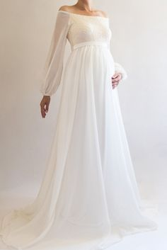 d914b70dfa22 ANNABELLE - This gorgeous chiffon maternity gown is just perfect for your  baby shower, maternity bridesmaid dress, or fall/winter maternity photos!