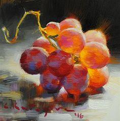 "Daily+Paintworks+-+""Cardinal+Grapes""+-+Original+Fine+Art+for+Sale+-+©+Elena+Katsyura"