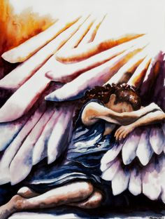 Shadow of His Wings Psalm17 Watercolor by MaureensWatercolors