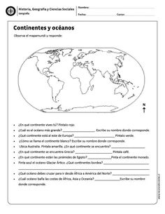Continentes y océanos Spanish Teaching Resources, English Activities, Spanish Lessons, Social Studies Worksheets, Geography For Kids, History Teachers, Spanish Classroom, Home Schooling, Earth Science