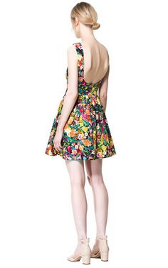 Printed Pleated Dress from Zara #floraldress #lowbackdress