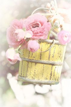 Pink flowers in yellow wooden bucket #flowers #floral