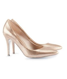 34.95 HM US    They've got a bit of a heel, but they are much like the rose gold shoes and probably less than a third of the price!    I saw them in the store.