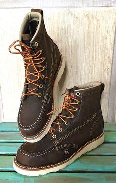"NWB $165 Thorogood brown 814-4200 American Heritage 6"" Moc Toe Wedge Boot 9D #Thorogood #laceupboots"