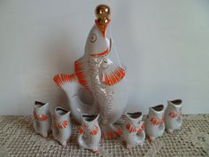 Soviet porcelain Fish Drinking set / Red Decanter and 6 Shot Glasses pitcher carafe jug / home decor houseware made in USSR. $29.00 Jeff