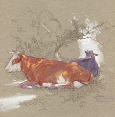 Oil paintings, paintings, drawings by Denis Korobkov by Korobkovart Cow Painting, Cardboard Art, Landscape Drawings, Arte Popular, Sketchbook Inspiration, Tempera, Pictures To Draw, Wall Art Designs, Lovers Art